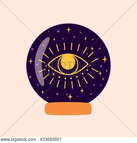 Magic Crystal Ball Future With Eye. Fortune Teller Crystal Ball. Witchcraft Magic Symbol. Halloween