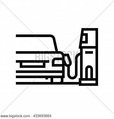 Refuel Car Through Phone Application Line Icon Vector. Refuel Car Through Phone Application Sign. Is
