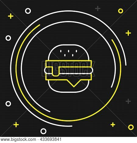 Line Burger Icon Isolated On Black Background. Hamburger Icon. Cheeseburger Sandwich Sign. Fast Food