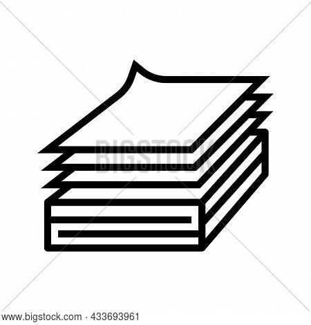 Paper List Wood Production Line Icon Vector. Paper List Wood Production Sign. Isolated Contour Symbo