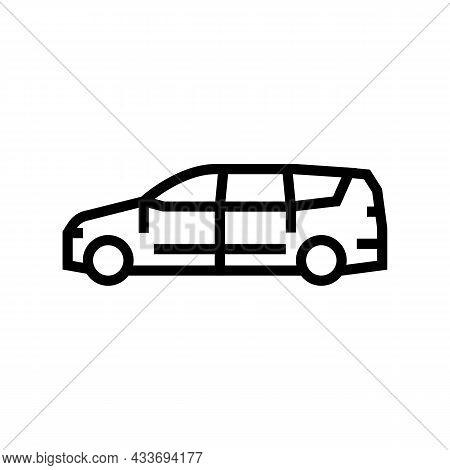 Van Minivan Car Line Icon Vector. Van Minivan Car Sign. Isolated Contour Symbol Black Illustration