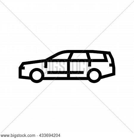 Wagon Car Line Icon Vector. Wagon Car Sign. Isolated Contour Symbol Black Illustration