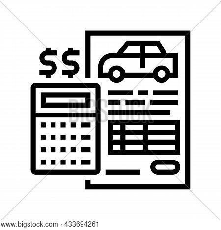 Financing Car Calculator Line Icon Vector. Financing Car Calculator Sign. Isolated Contour Symbol Bl