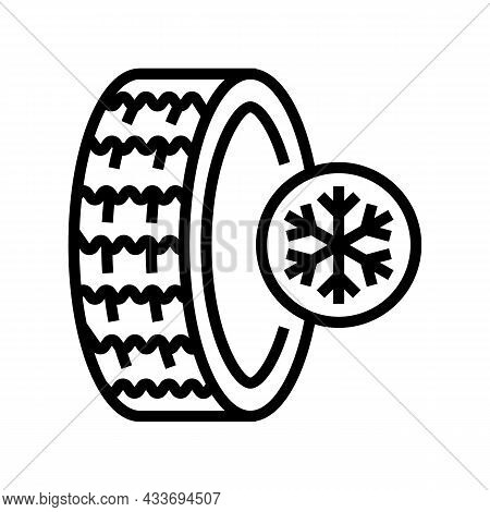 Ice Winter Season Tires Line Icon Vector. Ice Winter Season Tires Sign. Isolated Contour Symbol Blac