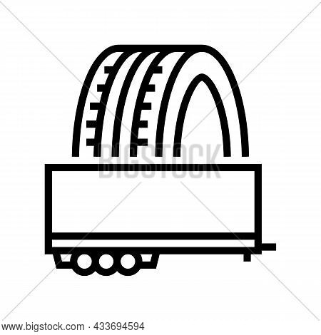 Trailer Tires Line Icon Vector. Trailer Tires Sign. Isolated Contour Symbol Black Illustration