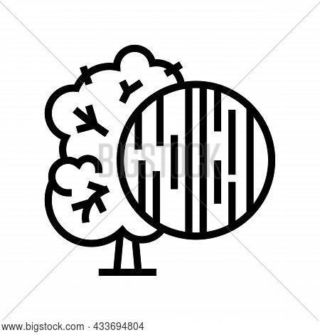 Ebony Wood Line Icon Vector. Ebony Wood Sign. Isolated Contour Symbol Black Illustration