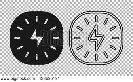 Black Lightning Bolt Icon Isolated On Transparent Background. Flash Sign. Charge Flash Icon. Thunder