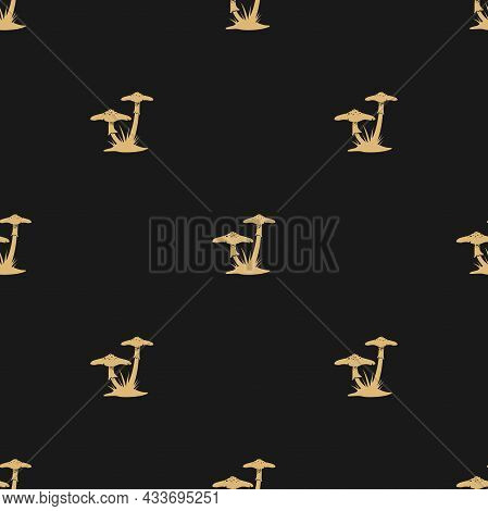 Seamless Pattern With Golden Death Cup Mushrooms. Fungi, Toadstool Black Ornament. Halloween Wallpap