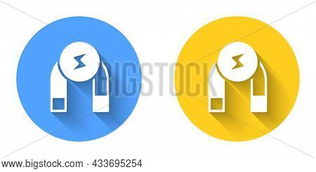 White Magnet Icon Isolated With Long Shadow Background. Horseshoe Magnet, Magnetism, Magnetize, Attr