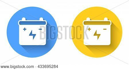 White Car Battery Icon Isolated With Long Shadow Background. Accumulator Battery Energy Power And El