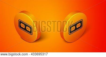 Isometric Electrical Outlet Icon Isolated On Orange Background. Power Socket. Rosette Symbol. Orange