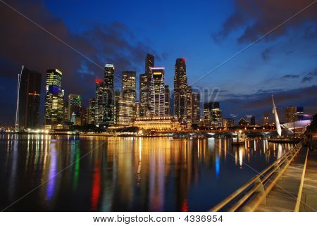 Singapore Skyline In Twilight