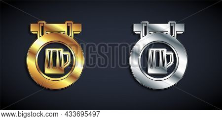 Gold And Silver Street Signboard With Glass Of Beer Icon Isolated On Black Background. Suitable For