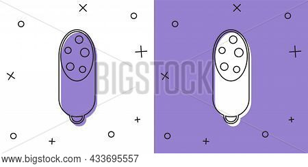 Set Salami Sausage Icon Isolated On White And Purple Background. Meat Delicatessen Product. Vector