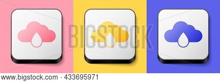 Isometric Cloud With Rain Icon Isolated On Pink, Yellow And Blue Background. Rain Cloud Precipitatio