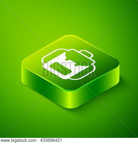 Isometric Hiking Backpack Icon Isolated On Green Background. Camping And Mountain Exploring Backpack
