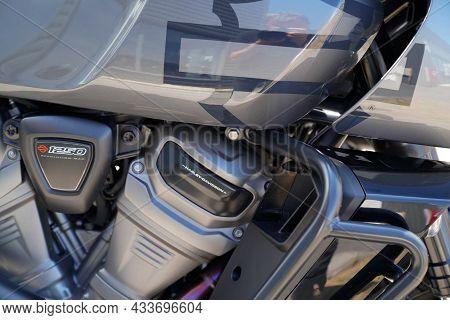 Bordeaux , Aquitaine  France - 09 10 2021 : Harley Davidson Pan America 1250 Side View Engine Detail