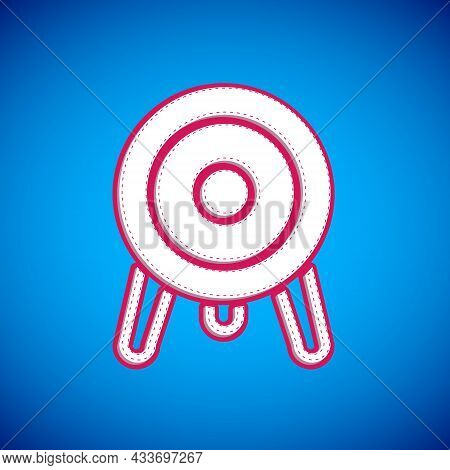 White Target Sport Icon Isolated On Blue Background. Clean Target With Numbers For Shooting Range Or