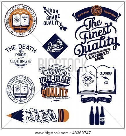 illustration retro vector label typographic and calligraphic symbols