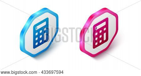 Isometric Calculator Icon Isolated On White Background. Accounting Symbol. Business Calculations Mat