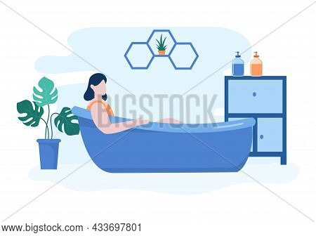 Relax At Home Vector Flat Illustration With People Relaxing In The Bathtub