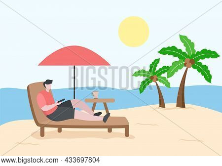 Relax On Chair The Beach And Under The Heat Of The Sun While Playing Smartphone And Drinking Cold Dr