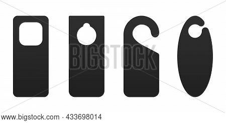 Hotel Door Hanger Tags Template Icon Signs Set Flat Style Design Vector Illustration. Empty Door Fly