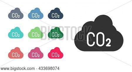 Black Co2 Emissions In Cloud Icon Isolated On White Background. Carbon Dioxide Formula, Smog Polluti
