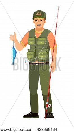 Fisherman. Caught And Shows A Fish. Successful And Happy. Middle Aged Man Character Person. Isolated