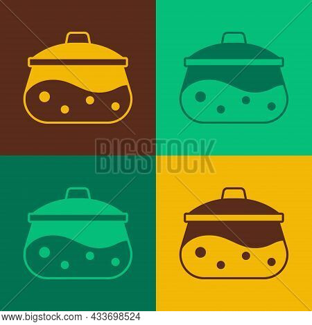 Pop Art Cooking Pot Icon Isolated On Color Background. Boil Or Stew Food Symbol. Vector