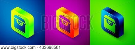 Isometric Slow Cooker Icon Isolated On Blue, Purple And Green Background. Electric Pan. Square Butto