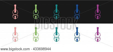 Set Violin Icon Isolated On Black And White Background. Musical Instrument. Vector