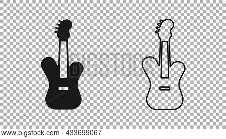 Black Electric Bass Guitar Icon Isolated On Transparent Background. Vector