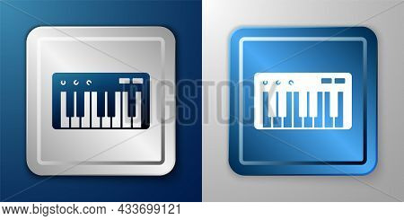 White Music Synthesizer Icon Isolated On Blue And Grey Background. Electronic Piano. Silver And Blue