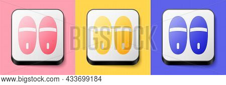 Isometric Slippers Icon Isolated On Pink, Yellow And Blue Background. Flip Flops Sign. Square Button