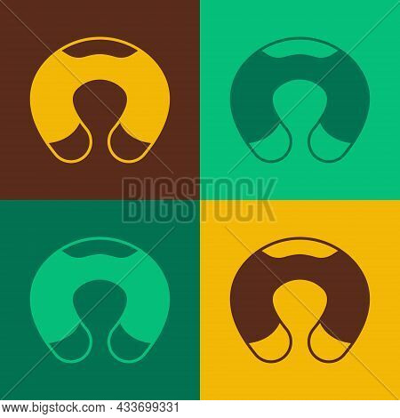 Pop Art Travel Neck Pillow Icon Isolated On Color Background. Pillow U-shaped. Vector