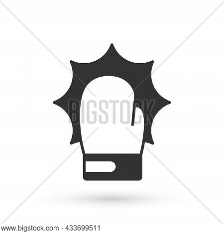Grey Punch In Boxing Gloves Icon Isolated On White Background. Boxing Gloves Hitting Together With E
