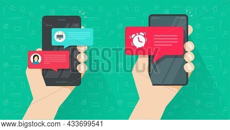 Online Reminder Important Alarm Clock Notice On Mobile Cell Phone And Chat With Chatbot Messages Tex