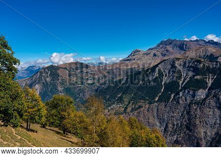 Landscape View Of The Mountains Around Le Bourg D\'oisans In Auvergne-rhone-alpes, France
