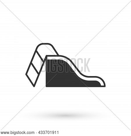 Grey Slide Playground Icon Isolated On White Background. Childrens Slide. Vector