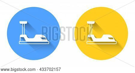 White Bumper Car Icon Isolated With Long Shadow Background. Amusement Park. Childrens Entertainment