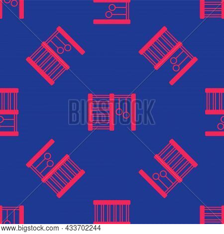 Red Wooden Swedish Wall Icon Isolated Seamless Pattern On Blue Background. Swedish Stairs. Vector