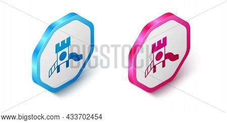 Isometric Slide Playground Icon Isolated On White Background. Childrens Slide. Hexagon Button. Vecto
