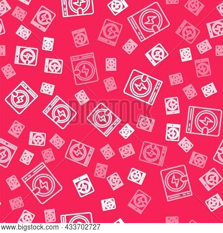 White Line Washer Icon Isolated Seamless Pattern On Red Background. Washing Machine Icon. Clothes Wa