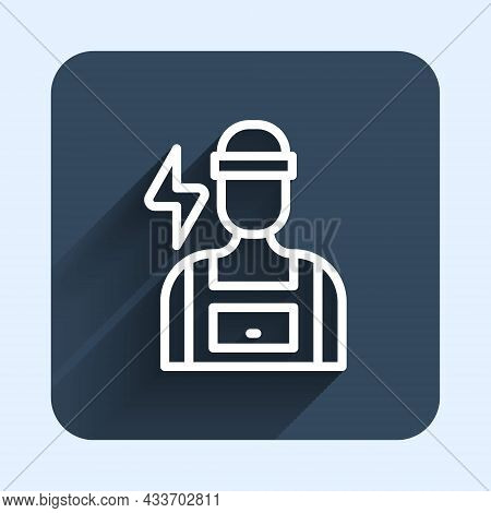 White Line Electrician Technician Engineer Icon Isolated With Long Shadow Background. Blue Square Bu
