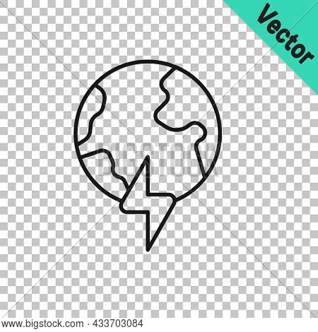 Black Line Global Energy Power Planet With Flash Thunderbolt Icon Isolated On Transparent Background