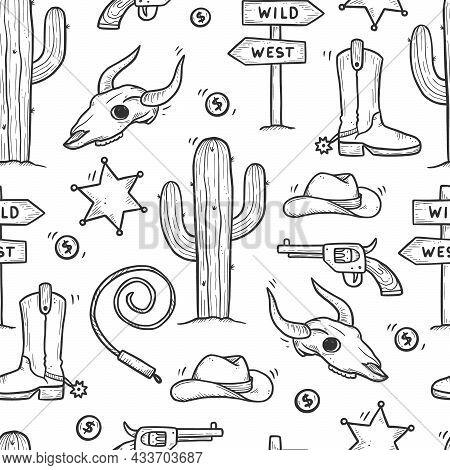 Cowboy Western Doodle Seamless Pattern. Hand Drawn Sketch Line Style. Cowboy Shoe, Cow Skull, Gun, C