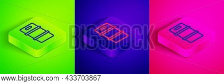 Isometric Line Metal Beer Keg Icon Isolated On Green, Blue And Pink Background. Square Button. Vecto