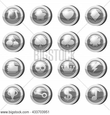 Set Of Silver Coins For Game Apps. Silver Icons Star, Heart, Clubs Hearts, Tambourine, Spades, Clove