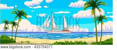 Tropical Resort Landscape Panorama, Sailboat. Sea Shore Sand, Exotic Palms, Coastline, Clouds, Sky,